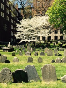 Revolutionary graveyard in Boston that Mabel Hubbard often looked out on during her sessions with tutor Alexander Graham Bell.